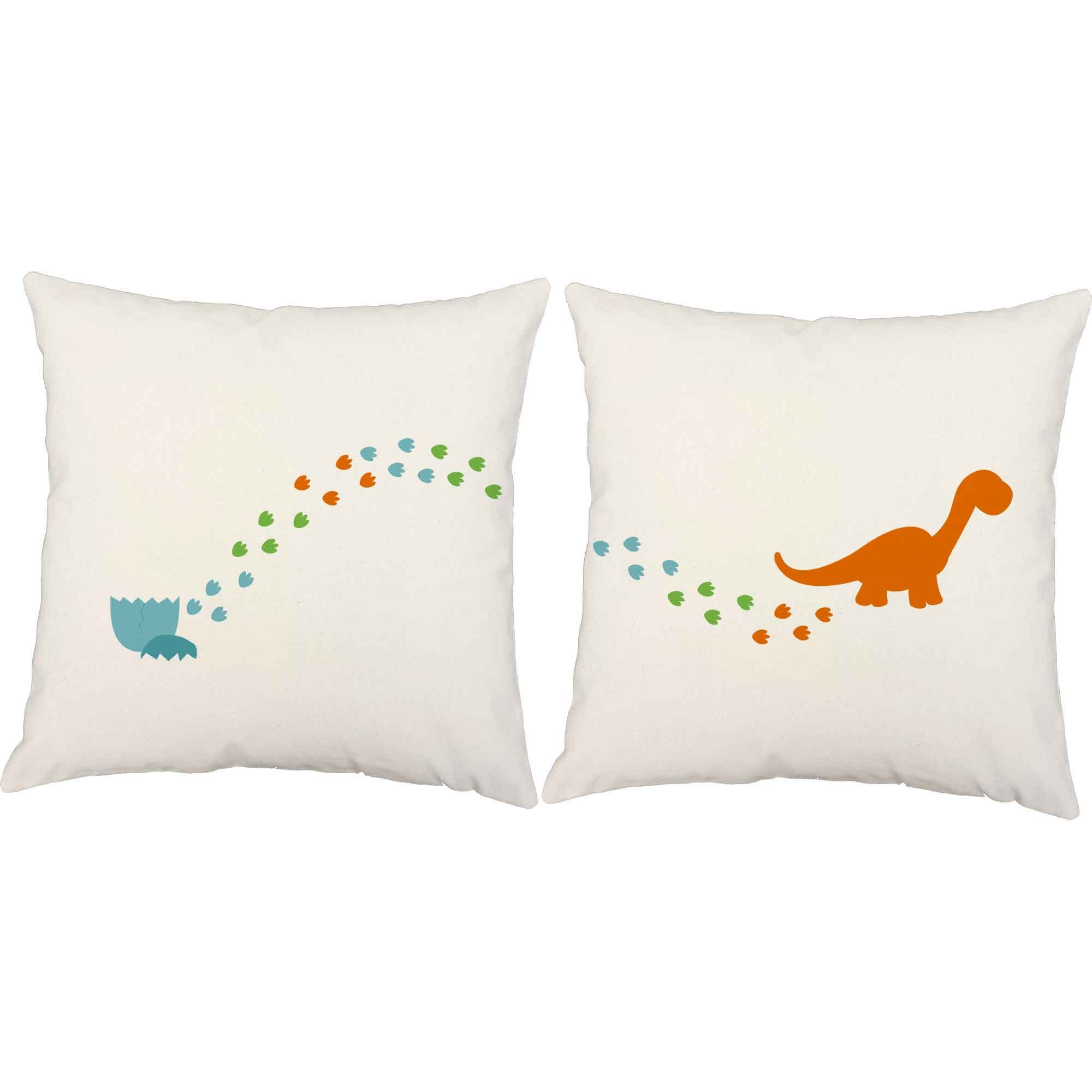 Set of 2 RoomCraft Dinosaur Hatchling Throw Pillows 20x20 Inch Square White Outdoor Dino Tracks Cushions