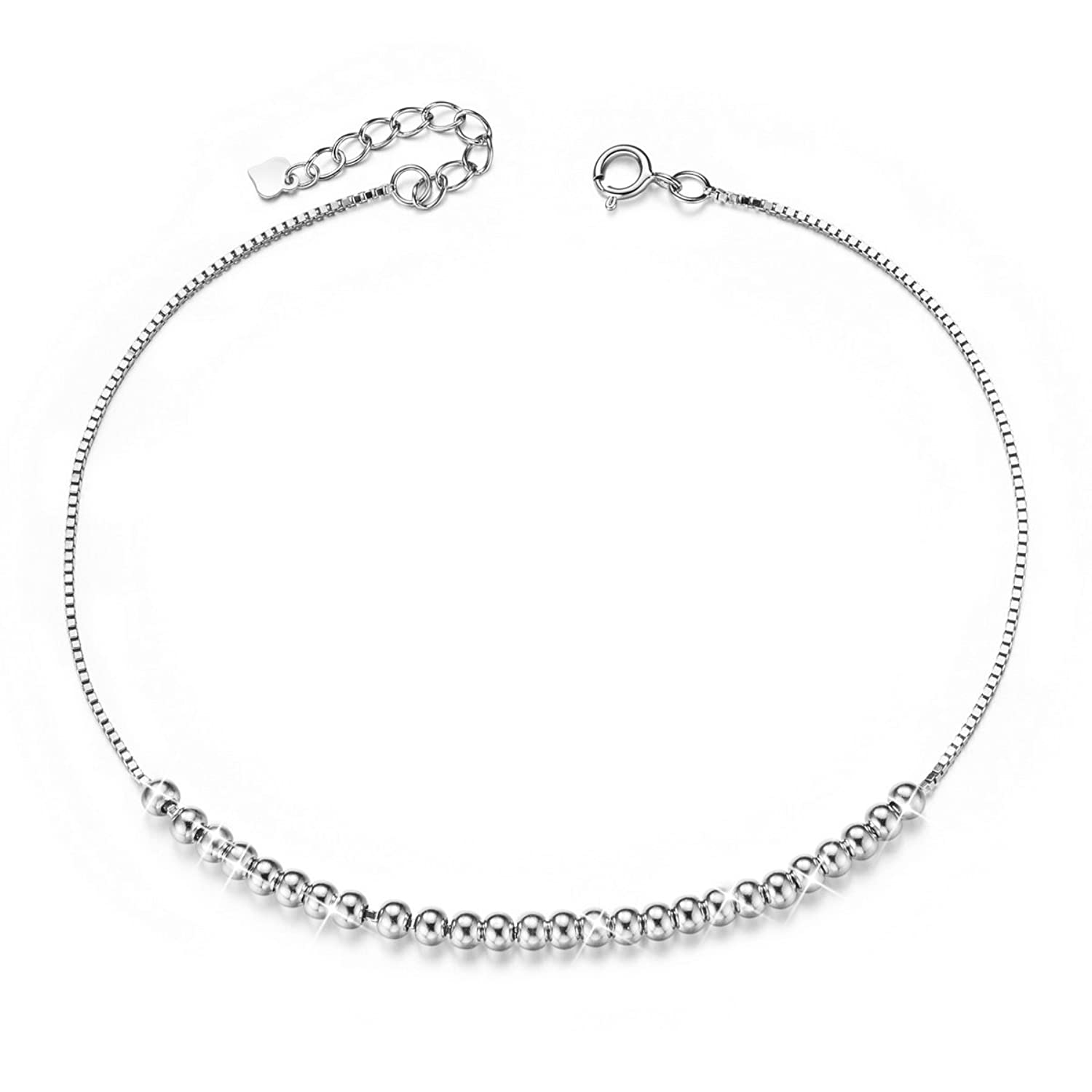 SHEGRACE Beaded Charms Anklet Bracelet for Women Silver Plated Anklet with Tiny Beads