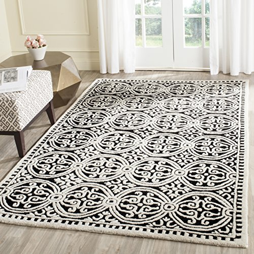 Safavieh Cambridge Collection CAM123E Handcrafted Moroccan Geometric Black and Ivory Premium Wool Area Rug (5' x 8') (Black Ivory Rectangle Rug)