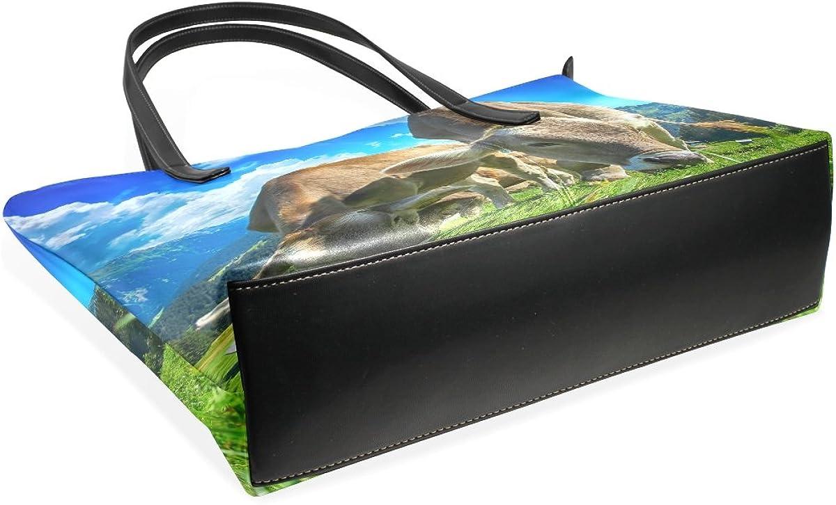 Ethel Ernest Womens Purse Cattles Eat Grass PU Leather Shoulder Tote Bag