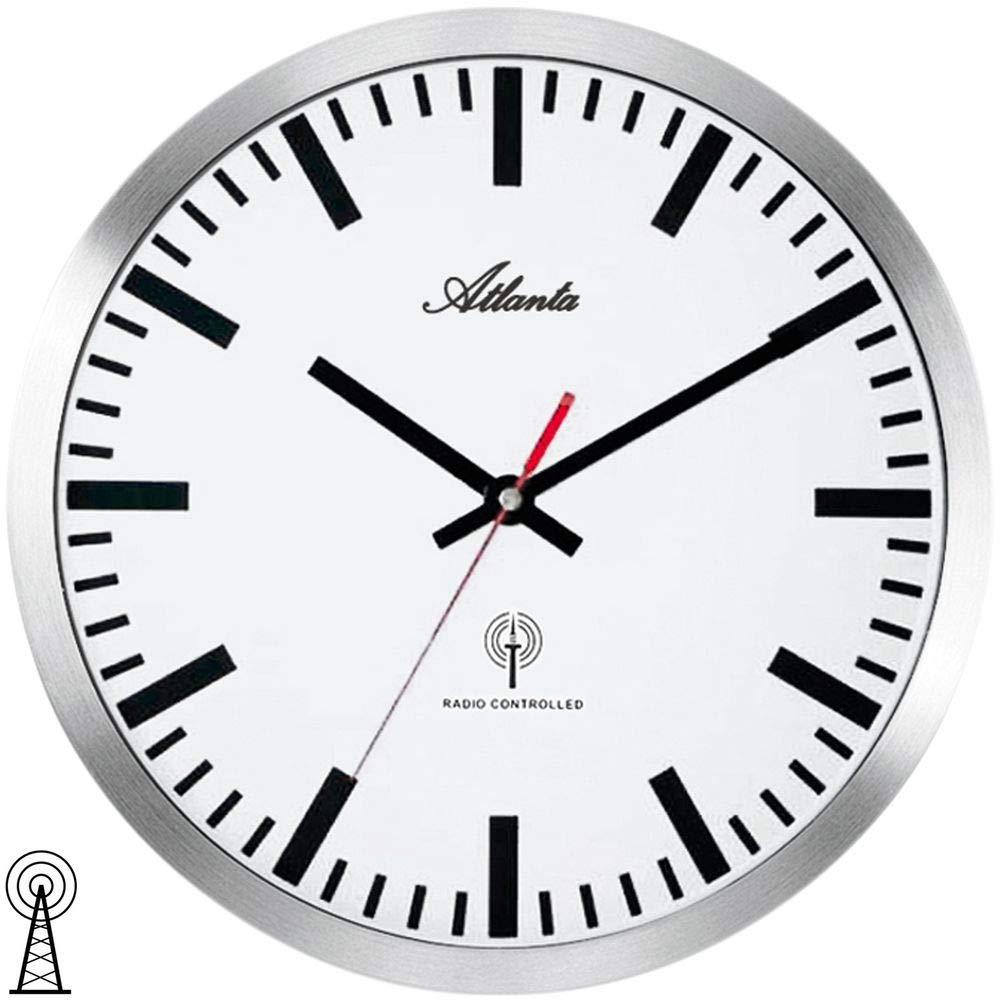 Funk Wanduhr rund Funkwanduhr Uhr Bürouhr 30cm silber weiß Technoline