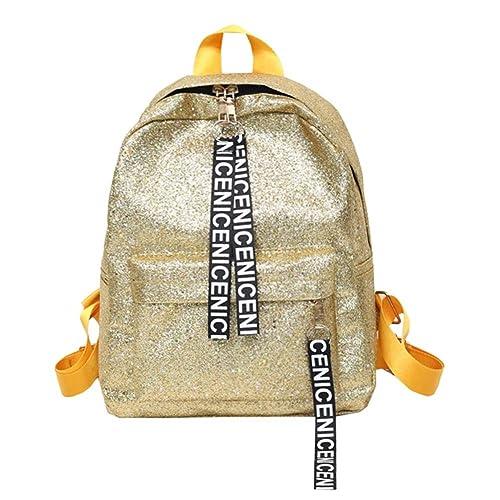 Widewing Travistar Bolsos Mochilas Mujer Casual Glitter mujeres lentejuelas PU cuero mochilas niñas escuela viajes bolsas / oro: Amazon.es: Equipaje