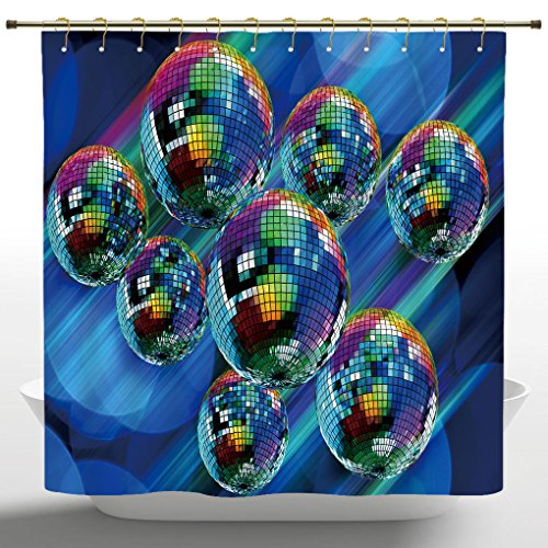 iPrint Stylish Shower Curtain by, 70s Party Decorations,Colorful Funky Vibrant Disco Balls Abstract Night Club Dancing Theme,Multicolor,Polyester Fabric Kids Bathroom Curtain Designs