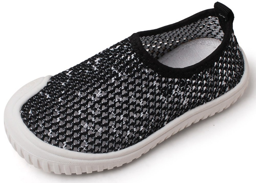 InStar Kids' Breathable Hollow Slip On Antiskid Sneakers Loafers Shoes Black 5.5 M US Toddler by SFNLD