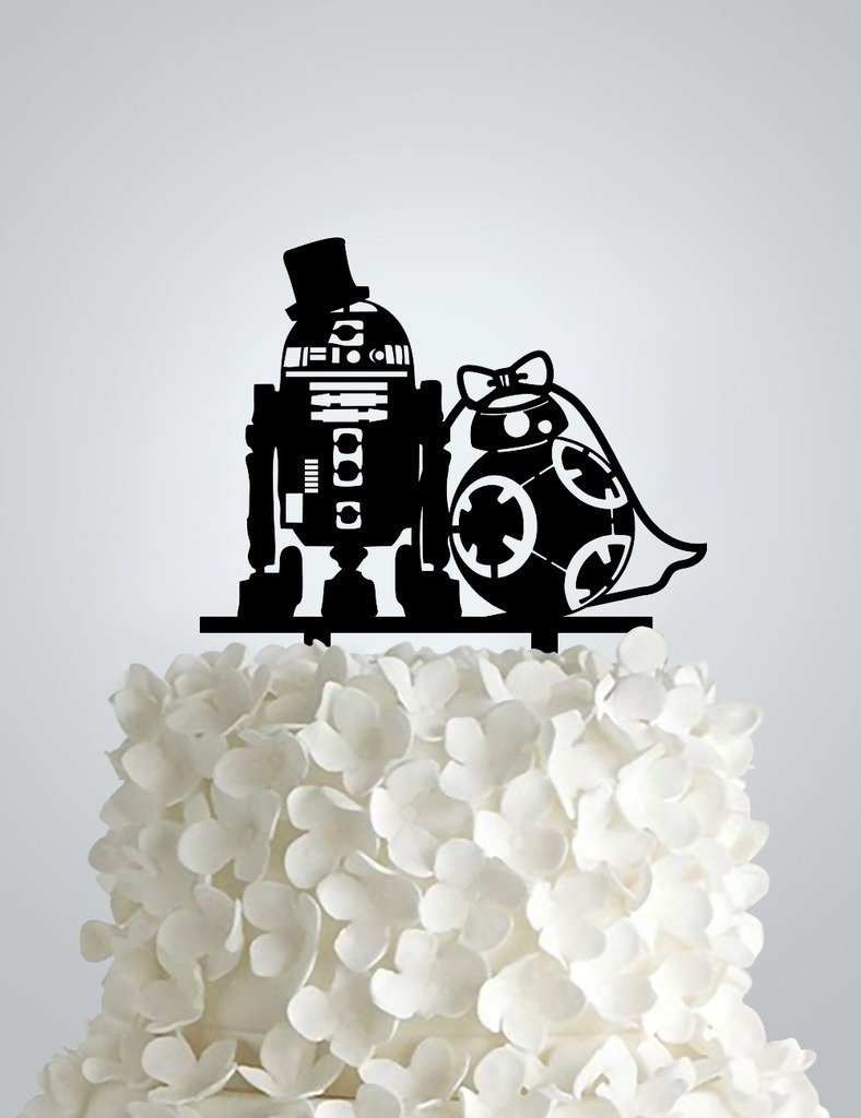 Wedding Cake Topper,inspired by Star Wars R2D2 & Bb8