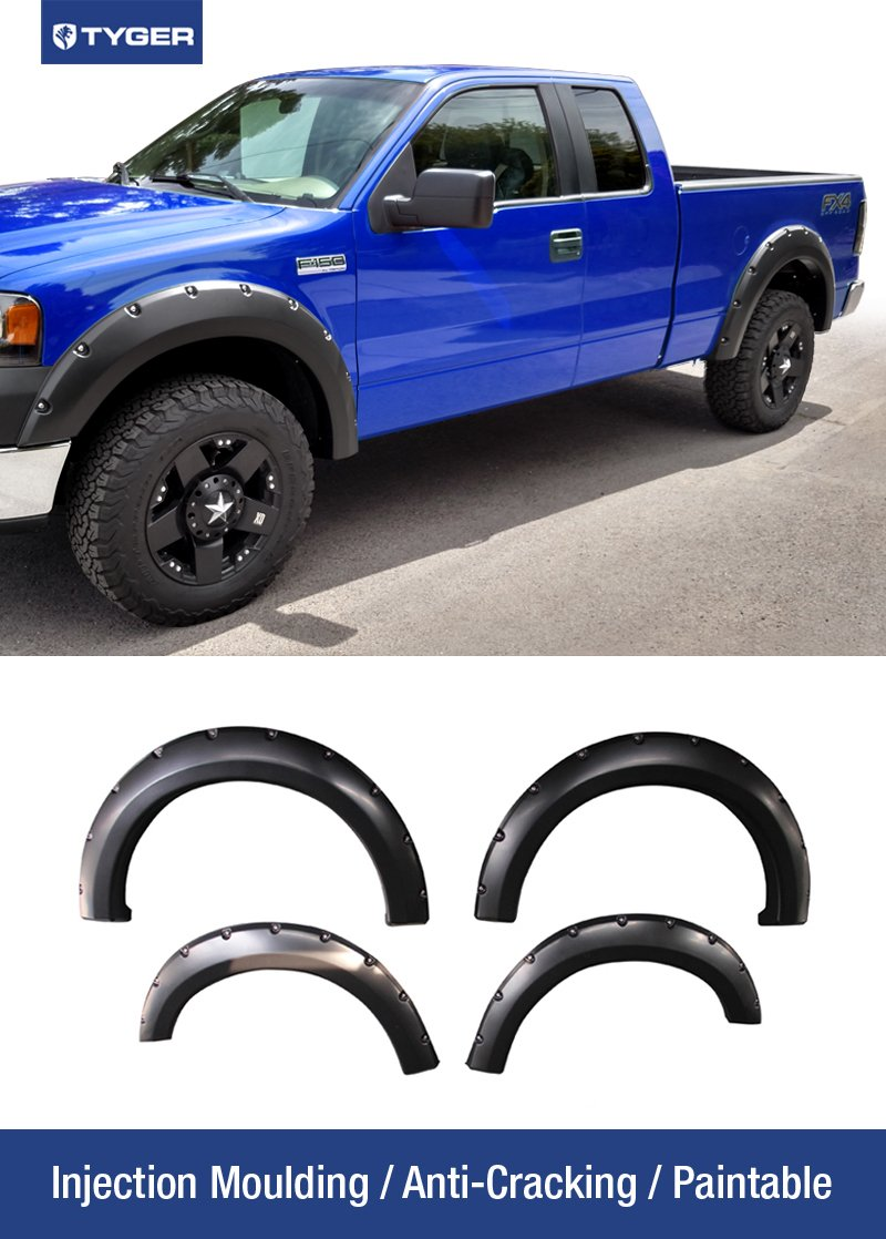 Tyger Auto TG-FF8F4018 For 2004-2008 Ford F150 (ONLY Fit Styleside Models); 2006-2008 Lincoln Mark LT | Paintable Smooth Matte Black Pocket Bolt-Riveted Style Fender Flare Set, 4 Piece by Tyger Auto
