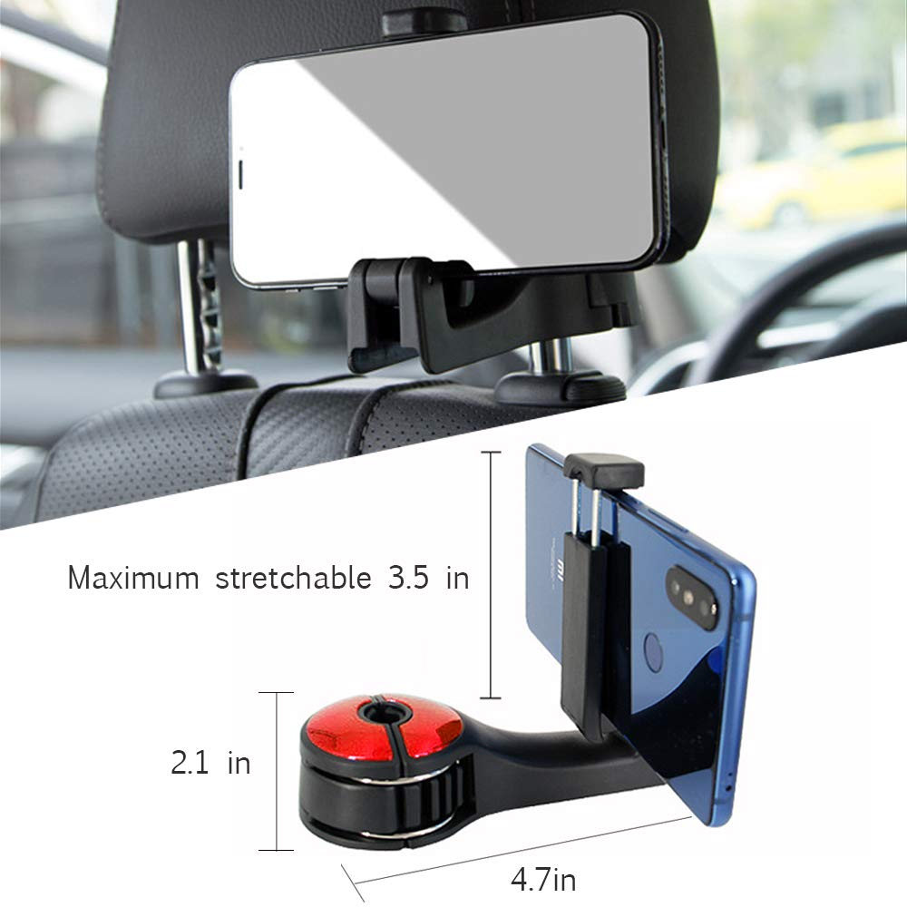 2in1 Universal Multi-Functional Car Headrest Hook with Phone Holder for Bag Purse Cloth Grocery