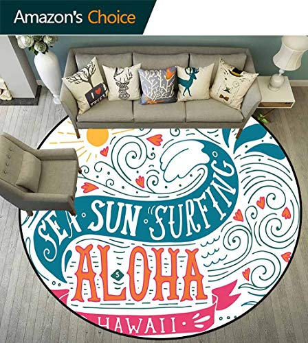 Hawaiian Round Rug Easy to Clean,Sea Sun Surfing Typography with Ocean Waves Aloha Tropical Print Stain Resistant & Easy to Clean,Petrol Blue Orange Pink,D-55 ()