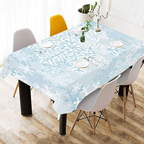 Amazon Com Yngxil Picnic Table Cover Beautiful Snowflake Circle Cotton Print Table Linens Cloth Cover Tablecloth For Kitchen Dining Room Decor 60x84 Inch Dining Table Cloths Home Kitchen