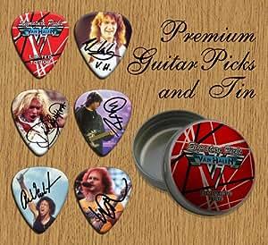 printed picks company van halen 6 signature double sided guitar picks in pick tin. Black Bedroom Furniture Sets. Home Design Ideas