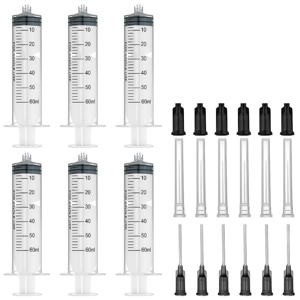 6 jeringas de 60 ml con agujas de relleno y tapas de almacenamiento de 16 g x 2, 54 cm (cerradura de luer) Agemore