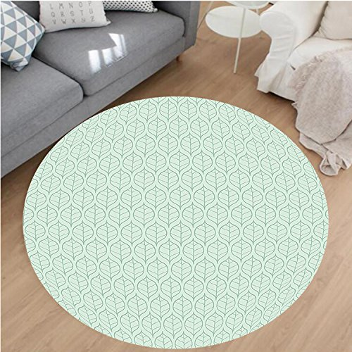 Beige Rug Rust Rugby (Nalahome Modern Flannel Microfiber Non-Slip Machine Washable Round Area Rug-by Chic Leaf Pattern with Minimalist Effects Nature Botany Eco Theme Display Almond Green area rugs Home Decor-Round 40