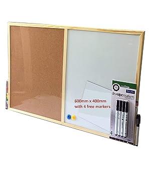 Pizarra blanca magnética combinada con tablero de corcho para oficina, 600 x 400 mm