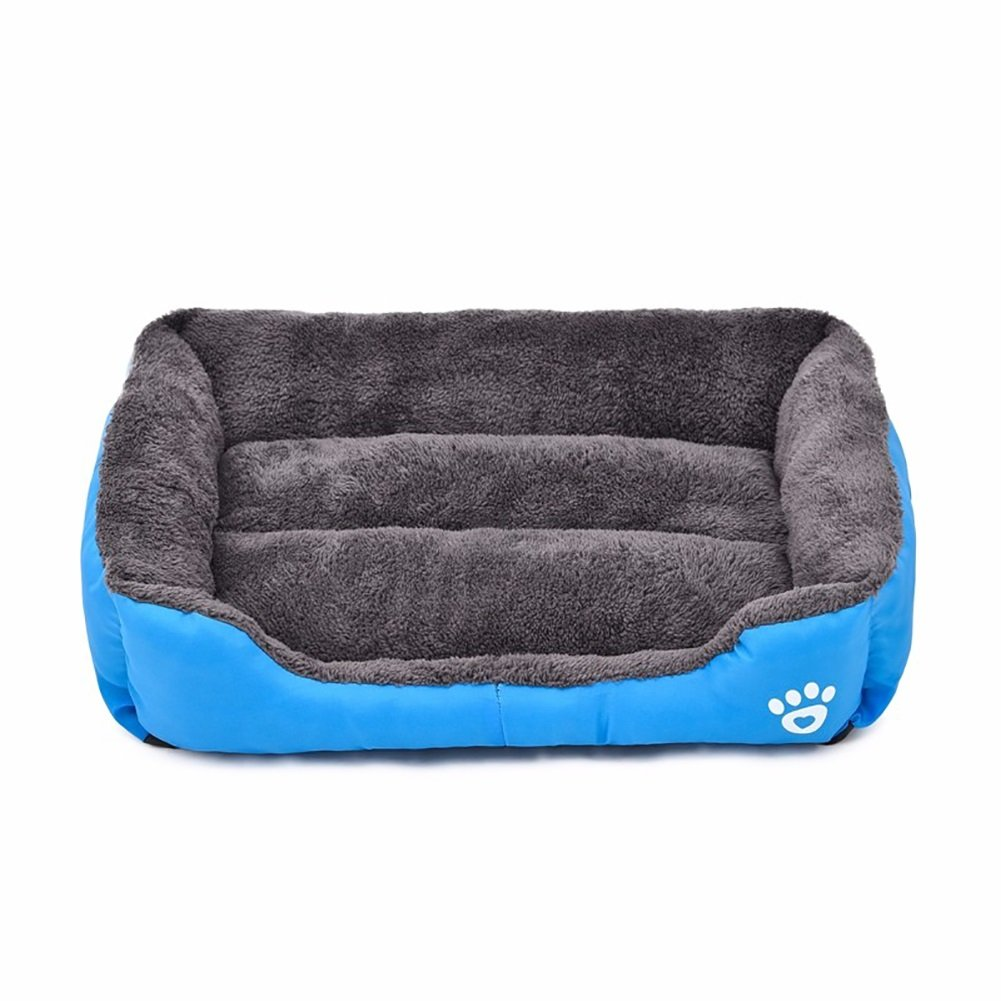 bluee XXL bluee XXL Longwei Pet Nest,Thick Soft Cotton Footprints Design Style Pet Nest Autumn Winter Warm Square Waterloo Dog Bed Cat Bed Mat 4 color & 6 Size (color   bluee, Size   XXL)
