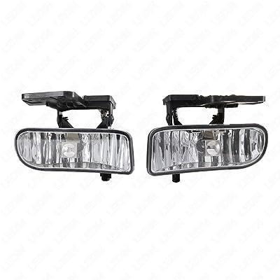 LEDIN for 1999-2002 GMC Sierra 2000-2004 Yukon Clear Lens Front Bumper Fog Driving Light Assembly w/o Switch w/Bulbs: Automotive