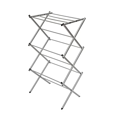 STORAGE MANIAC 3-Tier Folding Anti-Rust Compact Steel Clothes Drying Rack - 22.44 x14.57 x41.34 , Silvery