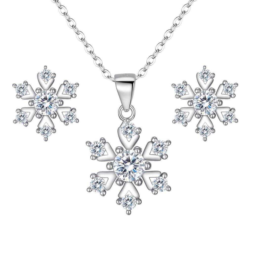 BriLove Women 925 Sterling Silver Cubic Zirconia Snowflake Shape Pendant Necklace Stud Earrings Set Clear Silver Tone 12001682-1ca