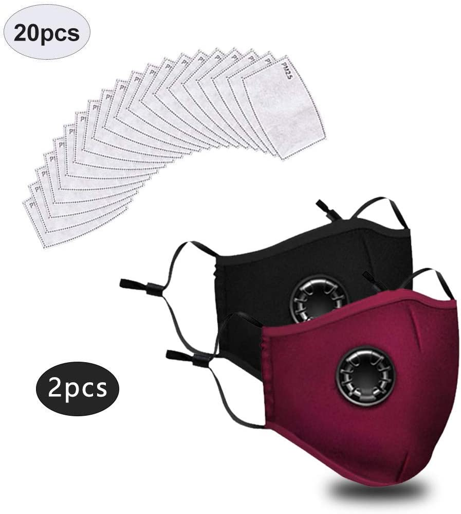 2PC+ 20 Filter, Black Adults Face M/àsc Bandanas with Breathing Valve Activated Carbon Filter Replaceable Haze Dust Face Health