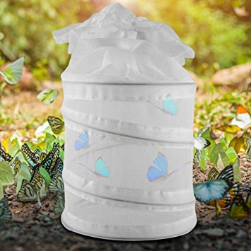 Mumusuki Caseta portátil Plegable para hábitat de Mariposas e Insectos al Aire Libre para Mariposas, arañas, Gusanos, escarabajos y Reptiles (Blanco): ...