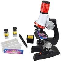Lispeed Scientific 100X-1200X Kit Microscope pour Enfant avec Microscope pédagogique Effet agrandissement en Verre