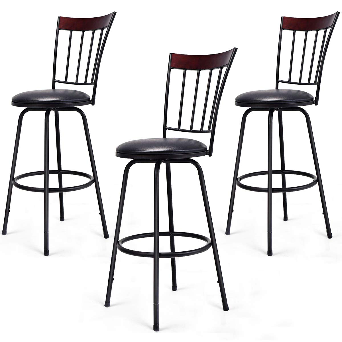 COSTWAY Bar Stools, Modern Swivel Height-Adjustable PU Leather Counter Metal Chair with Ergonomic Backrest Footrest, for Bistro Pub Dining Room Kitchen Furniture Set of 3