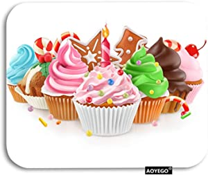 AOYEGO Cup Cake Mouse Pad Sweet Food Desert Birthday Chocolate Cherry Gaming Mousepad Rubber Large Pad Non-Slip for Computer Laptop Office Work Desk 9.5x7.9 Inch