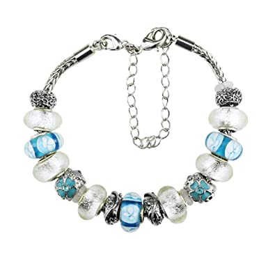 f727db9c3 Image Unavailable. Image not available for. Color: Charm Bracelets with  Charm for Pandora Women Silver Plated White and Sky Blue Good ...