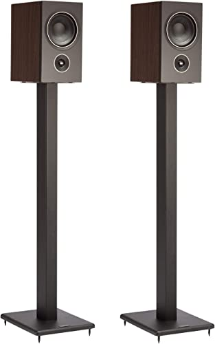 Pangea Audio DS100 All Steel Speaker Stand Pair 32 Inch Sand Fillable with Built-in Cable Management and Adjustable Steel Cone Spikes
