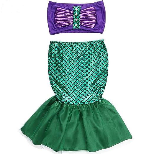 Kids Ariel Little Mermaid Set Girl Princess Fancy Dress Up Party Cosplay Costume