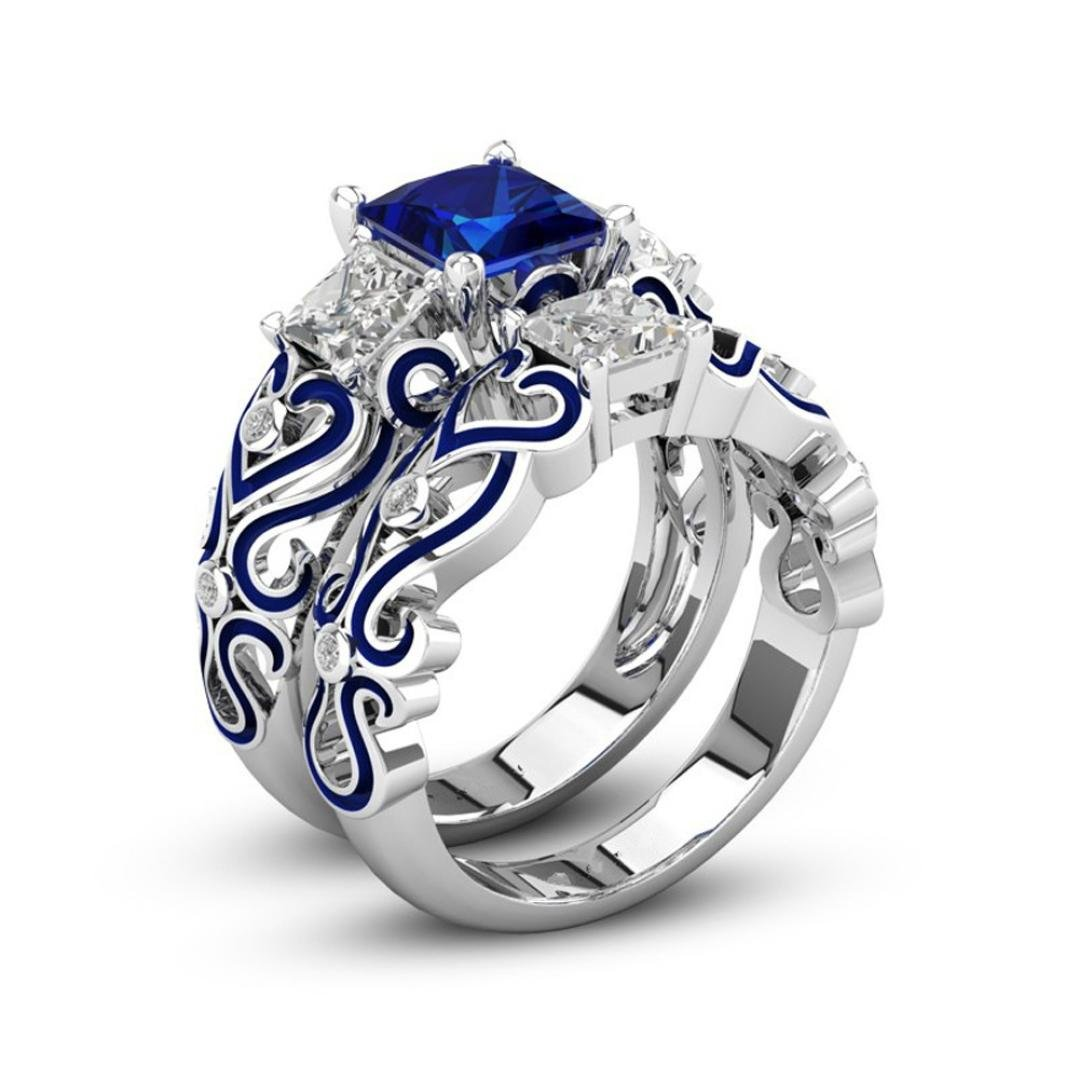 DDLBiz 2018 Clearance! 2-in-1 Womens Blue Diamond Engagement Wedding Band Rings NDKJ-2302W07