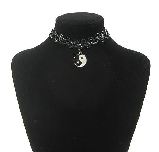 Elástico negro elástico tatuaje collar de gargantilla pentagrama ...