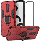EasyLifeGo for Realme X2 Pro Kickstand Case with Tempered Glass Screen Protector [2 Pieces], Hybrid Heavy Duty Armor Dual Layer Anti-Scratch Case Cover, Red