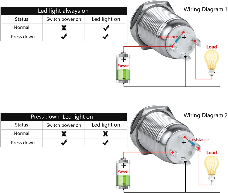 12mm,Verde Luz Larcele 5x Impermeable Moment/áneo Electricos Pulsador Bot/ón DIY Mini Pulsador Metal con Luz Indicadora JSANKG-03