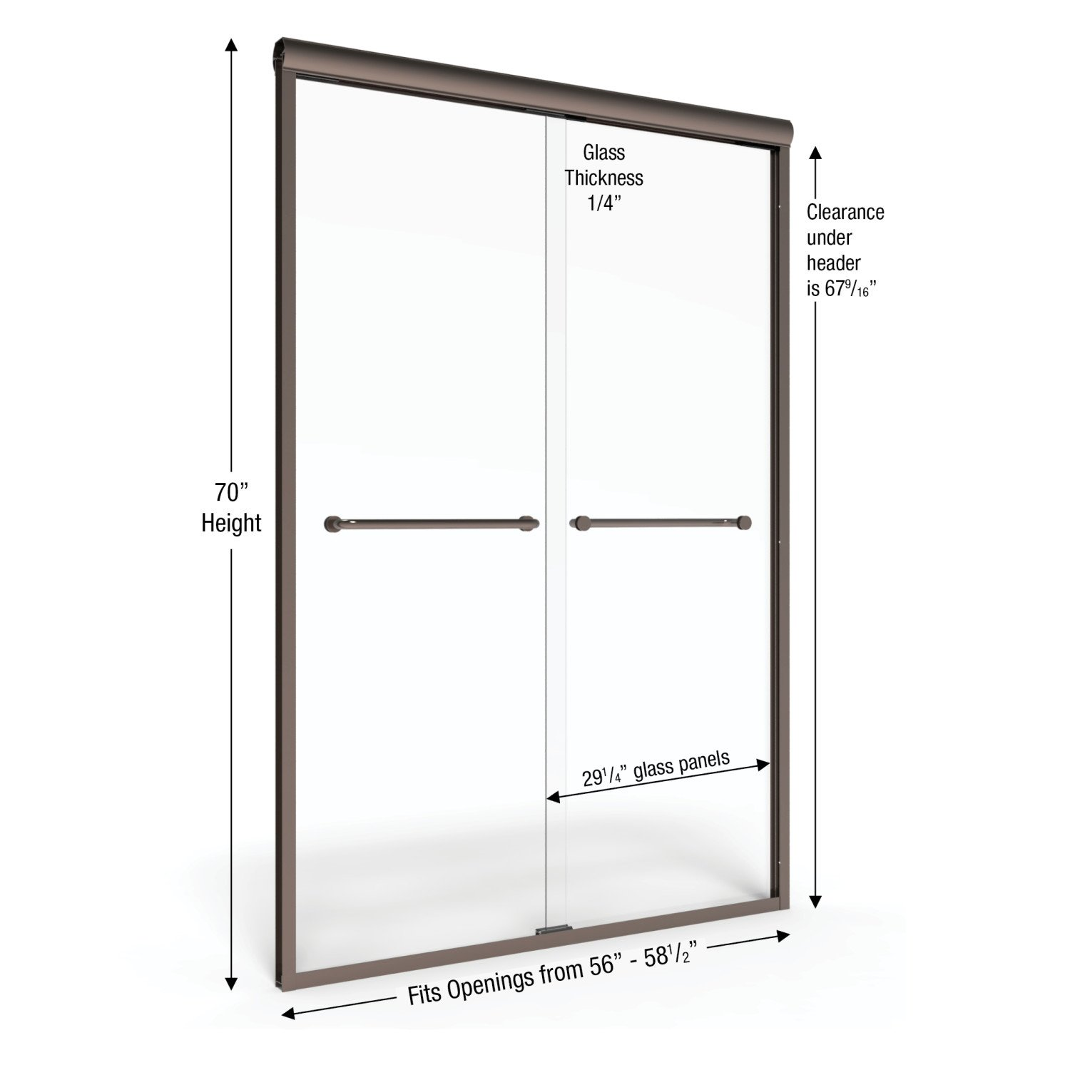 Basco Infinity Frameless Sliding Shower Door Fits 56 58 5 inch