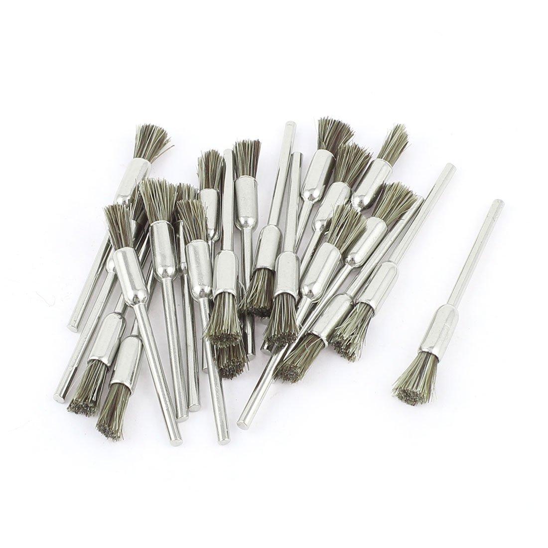 2/32 Inch Mandrel Brown Bristle Pen Polishing Brush 22 Pcs for Dremel Sourcingmap SYNCELEC000472