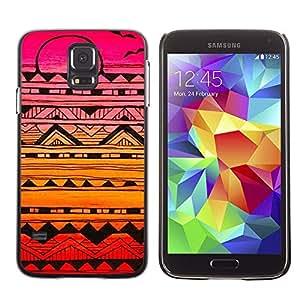 A-type Arte & diseño plástico duro Fundas Cover Cubre Hard Case Cover para Samsung Galaxy S5 (Birds Pattern Hand Drawn Art Pen)