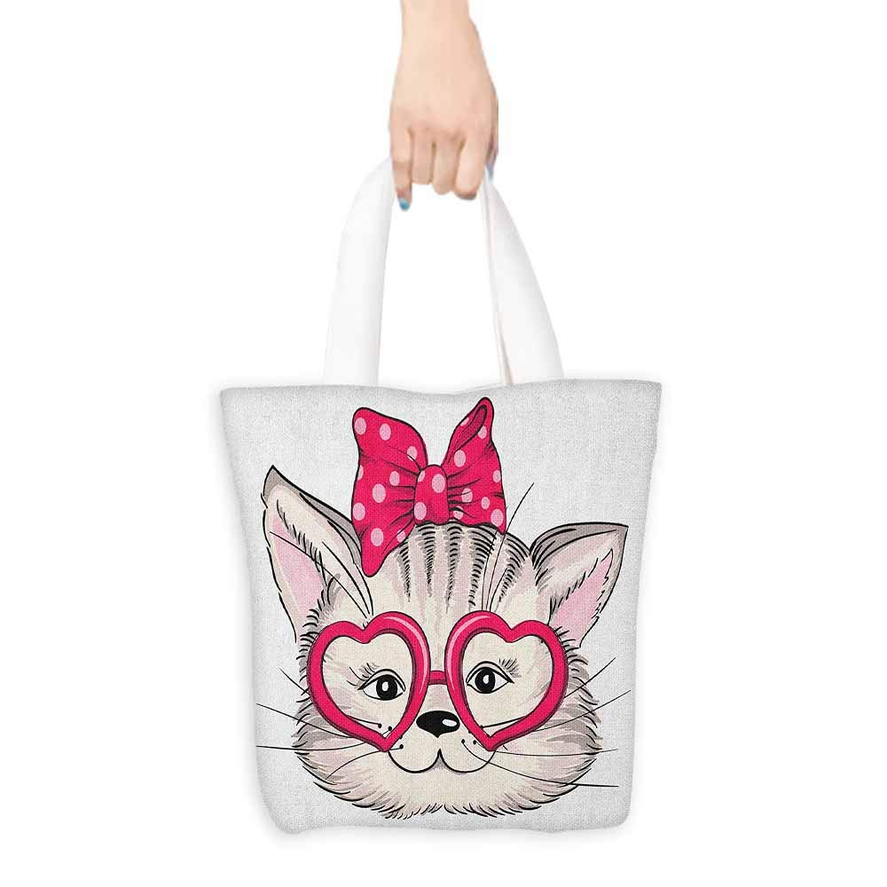 "Shopping work bag Kitty Hipster Sweet Cat Wearing Heart Shaped Pink Glasses and Dotted Hair Bow Cosmetic bag 16.5""x14""x6.3"" Magenta Beige Black"