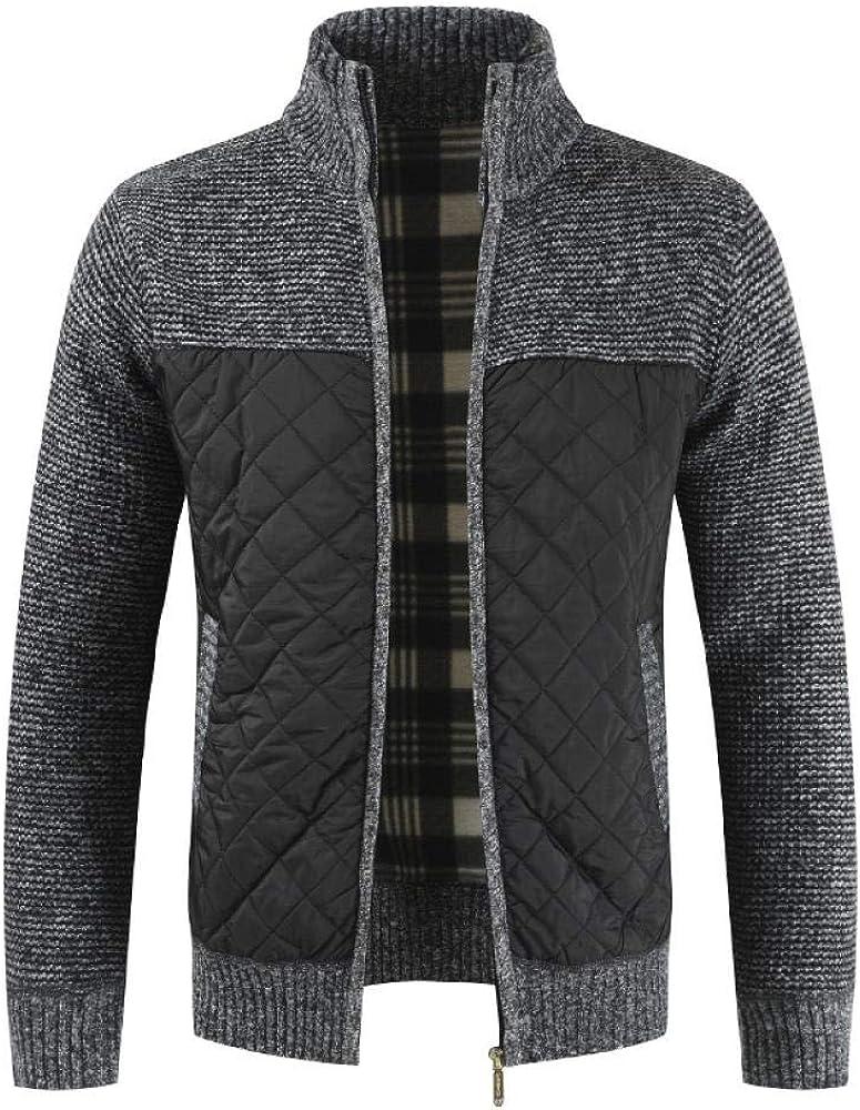 Maglione Autunno Inverno Uomo Solido Patchwork in Pile Spesso Cardigan Uomo Casual Stand Colore Maglione Uomo Cappotti