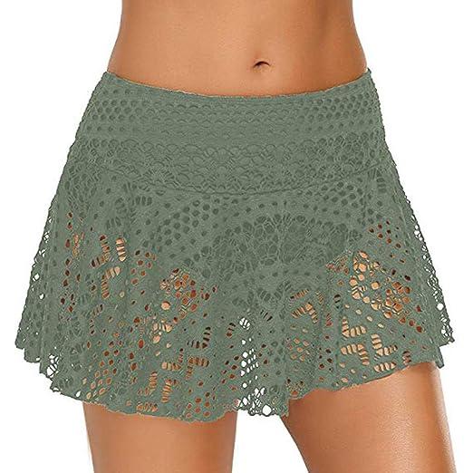 Falda de playa para mujer, falda corta para nadar, falda de encaje ...