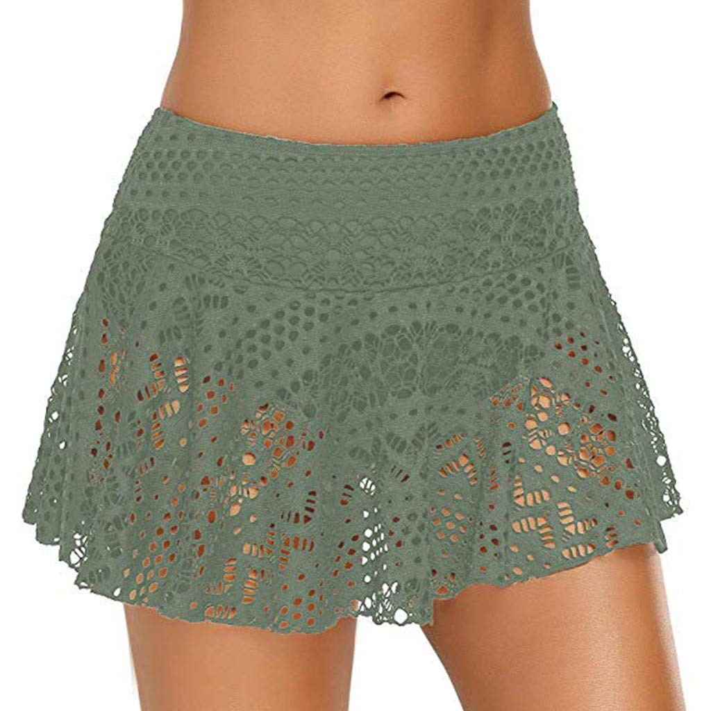 Lace Crochet Skirts Bikini Bottom Swimsuit Short Swim Skirt Swimdress for Women (XL, Green)