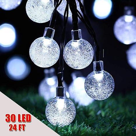 Tira de luces de decoración para exteriores, para fiesta de Navidad, patio, boda y vacaciones, funciona con energía solar, impermeable, 2 modos, 30 bombillas, de Usboo, White Light: Amazon.es: Deportes y aire