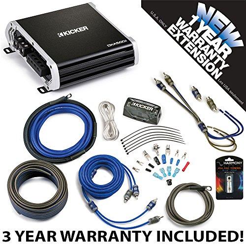 Kicker 43DXA5001 Car Audio Sub Amp DXA500.1 & 4 GA Amplifier Accessory Kit - 3 Year Warranty! ()