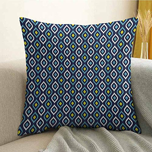 Navy Pillowcase Hug Pillowcase Cushion Pillow Abstract Leaf Form with Inner Circle Spots in Vibrant Tones Hippie Pattern Anti-Wrinkle Fading Anti-fouling W20 x L20 Inch Dark Blue Yellow White