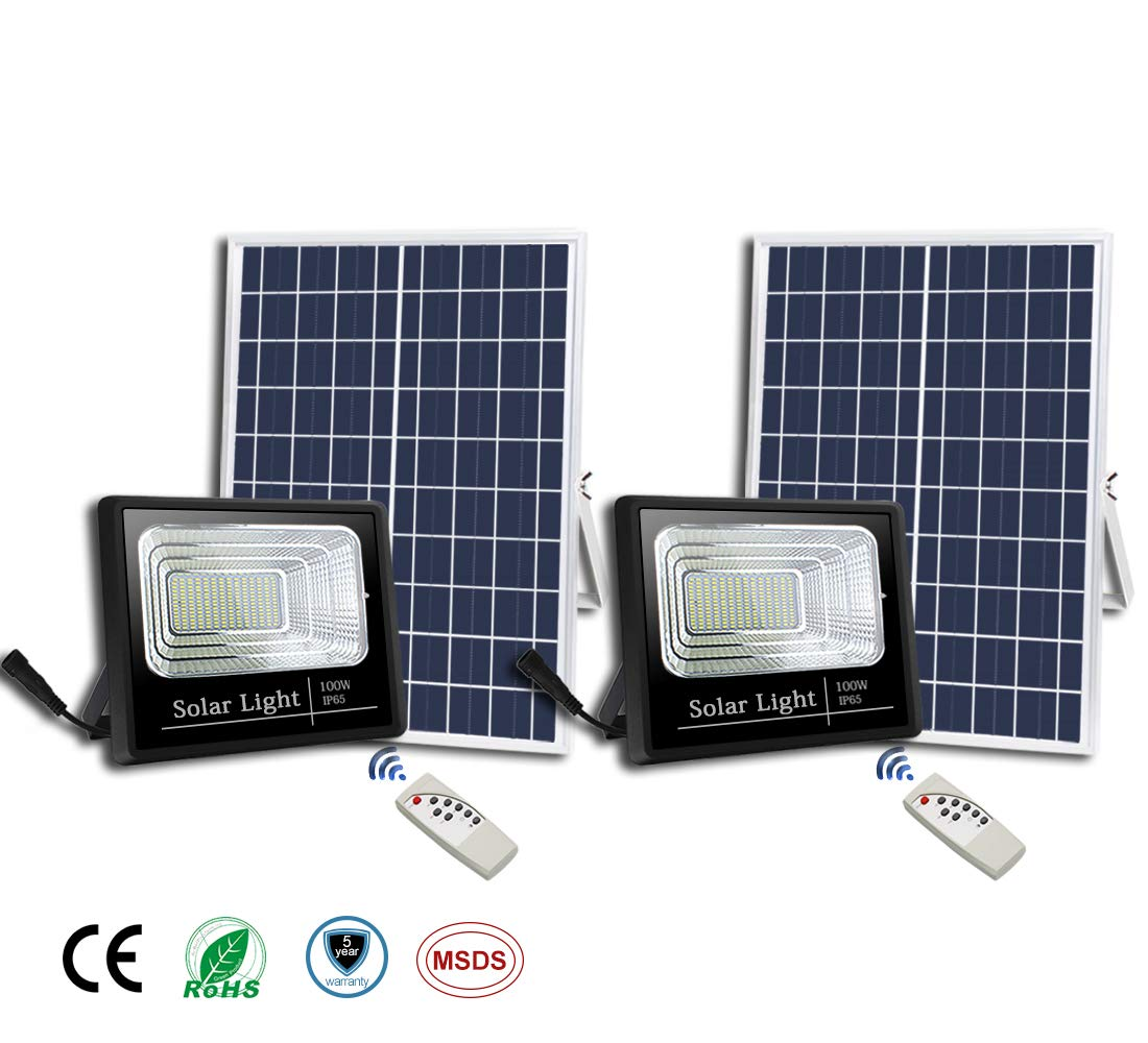 2Pack 100W Solar Flood Lights Outdoor,Street and Area Lighting,Dusk to Dawn 196LEDs IP65 Outdoor Waterproof,5000lumen Light Sensing,Remote Control Safety floodlight
