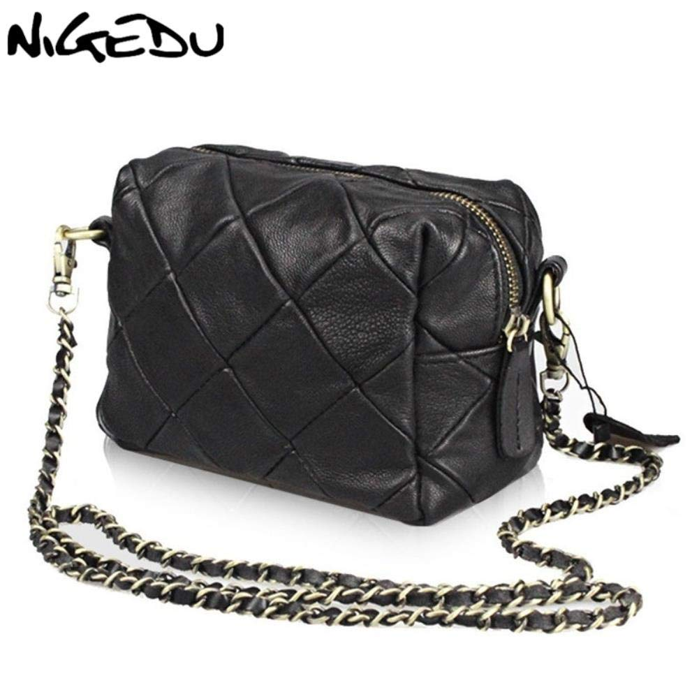 Amazon.com: Mini Messenger Bag Genuine Leather Chain ...