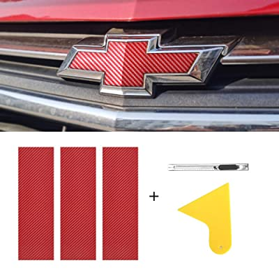 "BLAKAYA Compatible with Carbon Fiber Vinyl Wrap 11.8"" x 4"" Chevy Bowtie Emblem Wrap Kit with Spatula and Cutter 3 Pcs Universal Logo Overlay Red: Automotive"