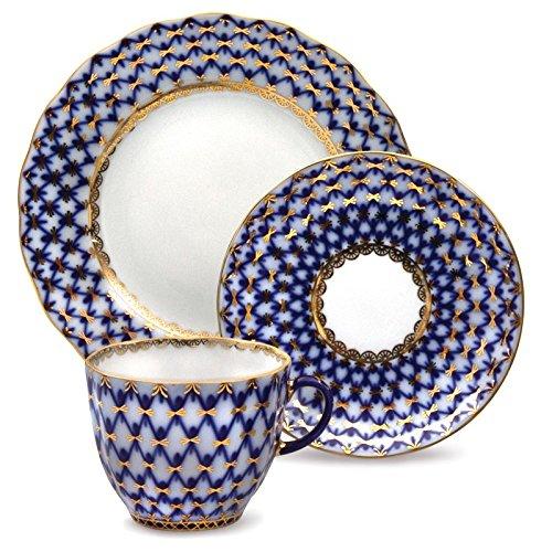Cobalt Net Coffee Set. Imperial Porcelain Factory (4.7 Fl Oz) 22k Gold