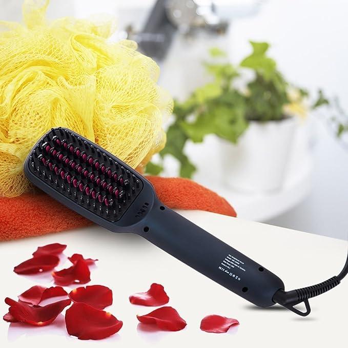 Original de 2 en 1 Alisador de cabello Cepillo, iones cerámica glättung Cepillo eléctrico glättb ürste prosalon Hair Brush peine alisador plancha de pelo ...