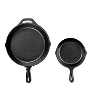 Lodge Seasoned Cast Iron Cookware Set (2 Piece Skillet Set (10.25 in & 6.5 in))