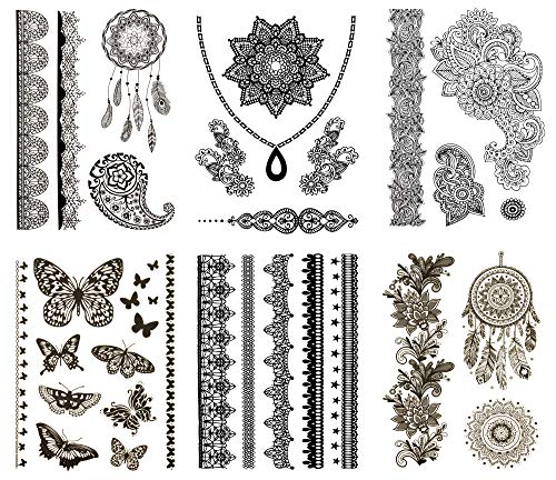 Temporary Henna Inspired Tattoos Black - Over 50 Boho Designs (6 Sheets) Terra Tattoos Skye -